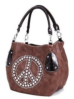 Soft Faux Leather Brown Bucket Purse w/ Rhinestone Peace Sign $34.99