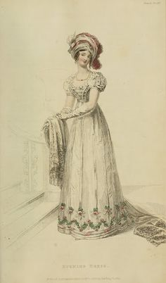 Evening dress in white with floral swags 1822 Ackermann