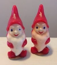 "Vintage 3"" Gurley Novelty Company Wax Candle Christmas Elves Unused With Labels"