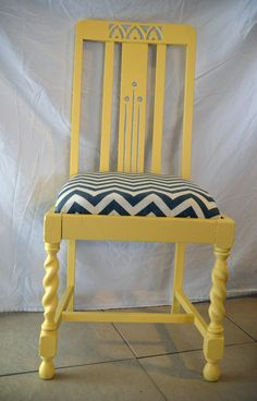 Chevron stripe chair in yellow. $75.00, via Etsy.