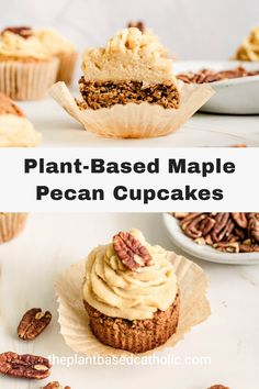 Plant-Based Maple Pecan Cupcakes are a decadent, sweet, fall-themed dessert. Top these gluten-free cupcakes with a delicious oil-free maple frosting. No butter and no refined sugar. #cupcakes #vegancupcakes #vegan #glutenfree #oilfree #sugarfree #plantbased #oilfreevegan #sugarfreevegan #glutenfreevegan #wfpb #forksoverknives #catholic #catholiclife #theplantbasedcatholic