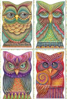 Quartet of Owl Prints Owl Art, Bird Art, Owl Always Love You, Owl Crafts, Zentangle Patterns, Zentangles, Zentangle Animal, Tattoo Patterns, Owl Patterns