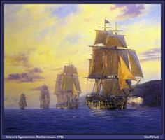 """HMS Agamemnon"" - Nelson's first flagship leads the squadron, Mediterranean, 1796. Nelson flies his flag as a Commodore, commanding his first squadron. He had commanded the 64-gun battleship 'Agamemnon', the ship he referred to as his favourite, since 1793. Nelson was given a Commodore's pennant in March 1796, just before he transferred to the 74-gun 'Captain' in June that year. 'Agamemnon' is shown leading 'Meleager' 32, 'Blanche' 32, 'Diadem' 64 and the now-famous 16-gun brig-sloop…"