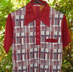 Vintage Mens Aristocrat Polyester Knit Shirt Short Sleeve Pocket Burgandy Black White Plaid Design Clothing Upcycle Recycle