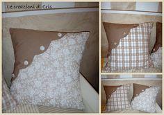 Cuscinoni fantasia nelle tinte panna e cappuccino con angolo smerlato e bottoni di stoffa coordinati per la camera di mia figlia coordinat...