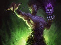 Necromancer, dark wizard, witcher, evil mage, D&D, RPG, blood magic.Stunning art by Izzy Medrano