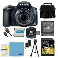 PowerShot SX60 HS 16.1MP 65x Optical Zoom Wide Angle Lens Digital Camera 32GB SDHC Memory Card, Compact Deluxe Gadget Bag NB-10L Battery, 3 Card Tri-fold Memory Card Wallet
