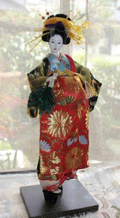 "Japanese '70s pretty looks OIRAN GEISHA doll, beautiful carved KANZASHI - 19"""