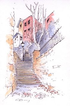 Better Drawing The splashes of colour throughout up the stairs and towards the building, encourages the idea of a journey through the scene, and communicates a warm and inviting experience. Watercolour Drawings, Pen And Watercolor, Watercolor Landscape, Watercolor Illustration, Drawing Sketches, Watercolor Paintings, Art Drawings, Watercolours, Watercolor Architecture