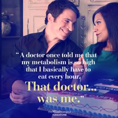 """A doctor once told me that my metabolism is so high that I basically have to eat every hour. That doctor...was me."" -Mindy, The Mindy Project #themindyproject 