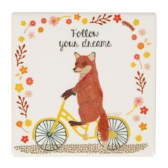Ceramic Vintage Fox Coaster - Gifts for Animal Lovers Vintage Fox, Follow You, Compact Mirror, Dreaming Of You, Whimsical, Coasters, Bike, Ceramics, Gifts