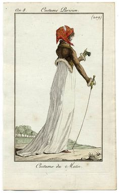 Journal des Dames et des Modes, 1799.  Look at her little spyglass! I'm pretty sure my life won't be complete unless I own one of those…