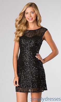 Black Sequin Cocktail Dress with Cap Sleeves by Alyce 4408 at SimplyDresses.com