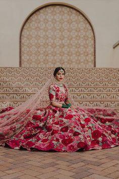 Red floral Sabyasachi bridal lehenga #Frugal2Fab