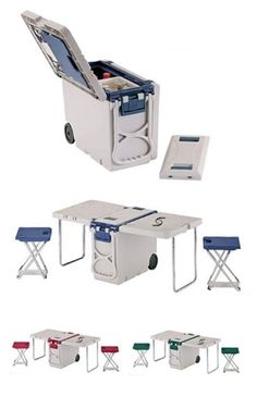 This Multi Functional Cooler is perfect fortu a trip to the beach or park. The sides unfold to create a perfect picnic table and includes two folding stools.