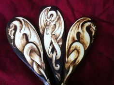 Night Dragon Spoon Set  Pyrography on Wood by GreenwoodCreations13, $65.00