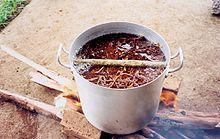 Caapi cooking over an open fire