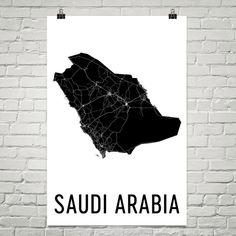 Saudi Arabia Map, Map of Saudi Arabia, Saudi Art, Saudi Arabia Poster, Saudi Arabia Wall Art, Saudi Arabia Poster, Saudi Arabia Gifts, Decor