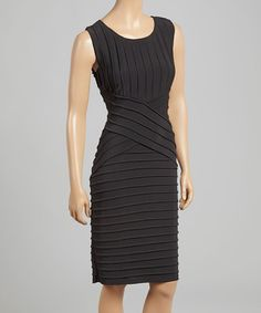 Another great find on #zulily! Black Pleat Dress - Women & Plus by AA Studio #zulilyfinds