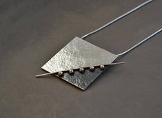 Sterling silver pendant. Silver necklace. Square pendant.