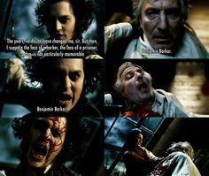 Johnny Depp and Alan Rickman in Sweeney Todd: Demon Barber of Fleet Street