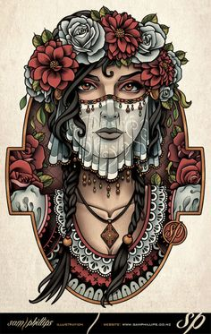 Bride Cross-Stitch Kit - Counted Cross Stitch Pattern, Modern Tattoo Art Cross Stitch By Sam Phillips, Stitching Set, DIY Needle Craft Body Art Tattoos, Tattoo Drawings, Sleeve Tattoos, Arabic Tattoos, Tatoos, Traditional Tattoo Cat, Cat Skull Tattoo, Neo Tattoo, Tattoo Art