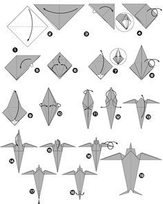 Hirondelle en origami
