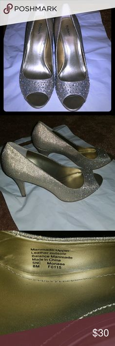 Style & Co Monaee Gold Sparkle Pumps Rhinestone accents. 3 1/4 Heel.  Super comfortable, worn once in my wedding day! The entire shoe sparkles catching anyones eye! Style & Co Shoes Heels