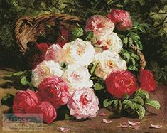 Still Life with Roses in a Basket - cross stitch pattern designed by Tereena Clarke. Category: Paintings.