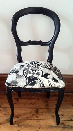Can you believe that this stunning balloon back chair,  covered with Florence Broadhurst fabric