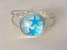 STARFISH bracelet, Sea stars bracelet, Silver cuff bracelet, Cabochon bracelet, Turquoise blue bracelet, Sea bracelet Teal Jewelry, Summer Jewelry, Collier Turquoise, Prom Necklaces, Starfish Bracelet, Blue Necklace, Silver Cuff, Artisanal, Beautiful Necklaces