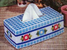 ''FLOWERS 'N' CHECKS TISSUE BOX COVER'' ~*~PLASTIC  CANVAS PATTERN~*~