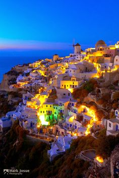 Blue Hour at Oia, Santorini, Greece. My mind is set, honeymoon! Wonderful Places, Great Places, Beautiful Places, Oh The Places You'll Go, Places To Travel, Places To Visit, Vacation Destinations, Dream Vacations, To Infinity And Beyond