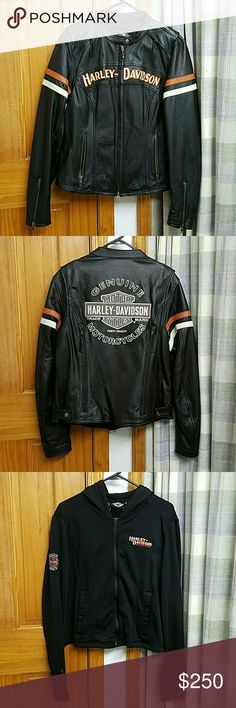Harley-Davidson Woman's Genuine Leather Coat Harley-Davidson Woman's Genuine Leather Coat Size L. Only wore a few times. Like brand new.  No flaws. 3 in 1 with removable inside hooded sweatshirt.  Hoody has thumb holes for comfort. Back embroidery has reflectant material for safty. Fitted and very flattering.  Inside pockets for phone and personal items. Harley-Davidson Jackets & Coats