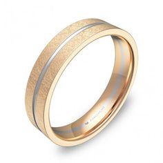 Alianza de boda plana con ranuras 4,5mm en oro bicolor hielo D2945H00R Bangles, Bracelets, Wedding Rings, Engagement Rings, Money, Inspiration, Jewelry, Wedding Band Rings, Ice