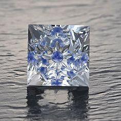 "Rock Crystal Quartz  ""Gem-Intrusion""©™  with blue sapphire"