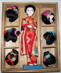 Antique Vintage Geisha Doll The Hanako With Six Wigs In Original Box Pristine…