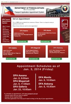 DFA Passport Appointment schedule update: January 3, 2014