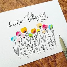 Easy Watercolor Flowers Step by Step Tutorial. Easy Watercolor Flowers Step by Step Tutorial Great little watercolor project for beginners with helpful Watercolor Cards, Watercolor And Ink, Watercolor Flowers, Calligraphy Watercolor, Calligraphy Cards, Doodle Drawings, Doodle Art, Art Carte, Paint Cards