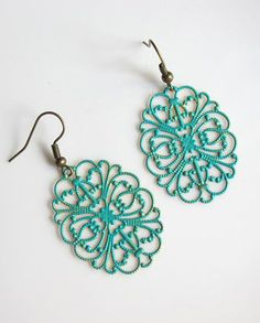 Nature Garden Inspired Patina Green Dangle Earrings.