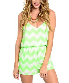 Look what I found on #zulily! Lime & Ivory Chevron Romper by  #zulilyfinds
