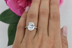 5.25 ctw Oval Accented Solitaire Ring Engagement by TigerGemstones