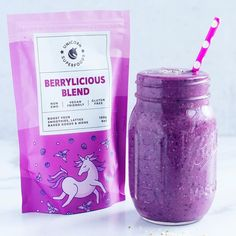 The Unicorn Superfood Berrylicious Blend is an energizing blend made with various superfood berries designed to help energy levels, detoxify the body and maintain a healthy weight. Perfect for smoothies, lattes, baked treats, noodles and whatever your creative mind can think of with the endless superfood blend powder recipes out there! Bring colour to your food with the superfood powders such as purple with the Berrylicious Blend or blue with the Blue Spirulina Blend. ✓ Good source of… Berry Smoothie Recipe, Smoothie Recipes, Smoothies, Wild Blueberries, Frozen Strawberries, Blue Spirulina, Creamy Pesto, Superfood Powder, Sources Of Fiber