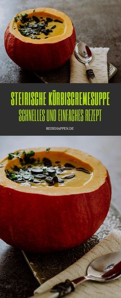 Steirische Kürbiscremesuppe Yams, International Recipes, Creative Food, Low Carb Recipes, Food Porn, Beef, Food And Drink, Vegan, Cooking
