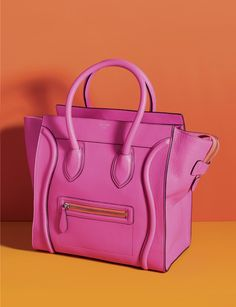 Shockingly pink! Mini Luggage Celine tote in fluorescent pink!