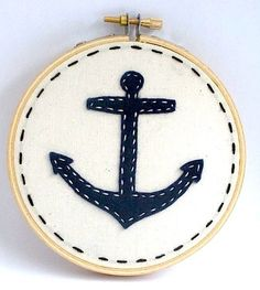 Ships Ahoy Anchor Embroidery Hoop Art by EmilyBeesCreations