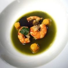Matcha Madness #3: Matcha poached prawns with light bisque cubes, citrus emulsion