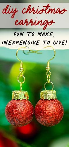 These DIY Christmas Earrings are an inexpensive homemade gift idea! Get the step by step instructions on how to make this chic but easy gift! #holidaycrafts #christmasbaubles #christmascraft #christmasdiy #xmascrafts #homemadegiftideas #handmadegiftideas #diyearrrings #christmasearrings Mini Christmas Tree, Diy Christmas Gifts, Christmas Projects, Simple Christmas, Handmade Christmas, Christmas Bulbs, Christmas Ideas, Cozy Christmas, Handmade Ornaments