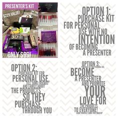 Looking for the best deal on makeup?! All of this for $99?! Our presenters kit includes $225 worth of Younique products for only $99.. 3D Fiber Lashes, Addiction Shadow Palette, Angled Shadow/Sponge Brush, Beachfront Self-Tanning Body Lotion, Splurge Cream Shadow in Elegant, Cream Shadow Brush, Shine Makeup Remover Cloths, Skin Care Sampler Foundation Sampler, Bronzer Sampler, Pigment Sampler, Blush Sampler, Lip Gloss Sampler (Set of 10), Lip Stain Sampler (Set of 7), Black Presenter Case…