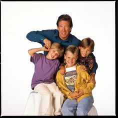 Tim Allen, Jonathan Taylor Thomas, Zachery Ty Bryan, and Taran Noah Smith Taran Noah Smith, 90s Tv Shows, Jonathan Taylor Thomas, Dude Perfect, Home Improvement Tv Show, Tim Allen, Disney Stars, Childhood Memories